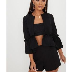 Zara blazer with sleeve ruffle sz M